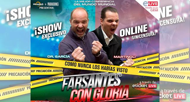 """Crhistian Martinoli y el Doctor García presentan su show """"Farsantes con gloria"""" vía Streaming"""