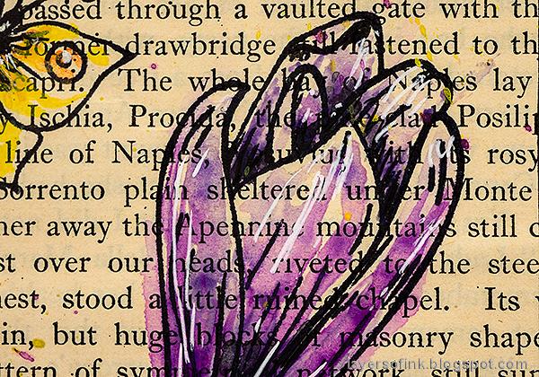 Layers of ink - Watercolor Flowers on Book Paper Tutorial by Anna-Karin Evaldsson. Crocus flower.