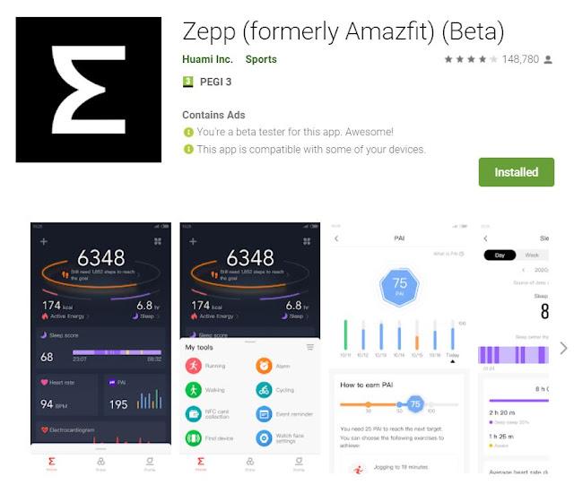 Aplicação Amazfit muda o nome para Zepp