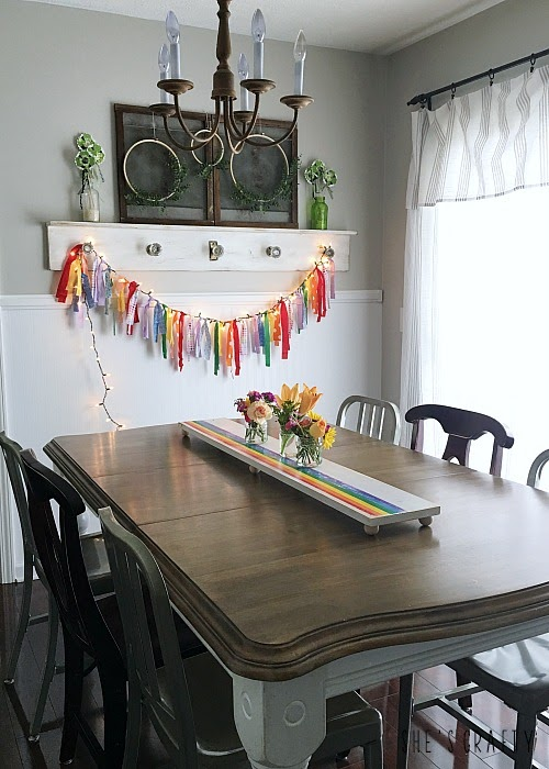How to make a Wooden Rainbow Table Runner for Spring and St Patrick's Day