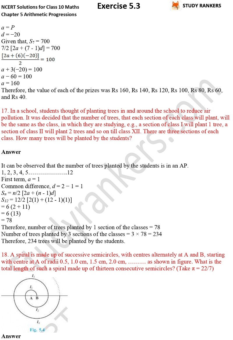 NCERT Solutions for Class 10 Maths Chapter 5 Arithmetic Progressions Exercise 5.3 Part 1 Part 13