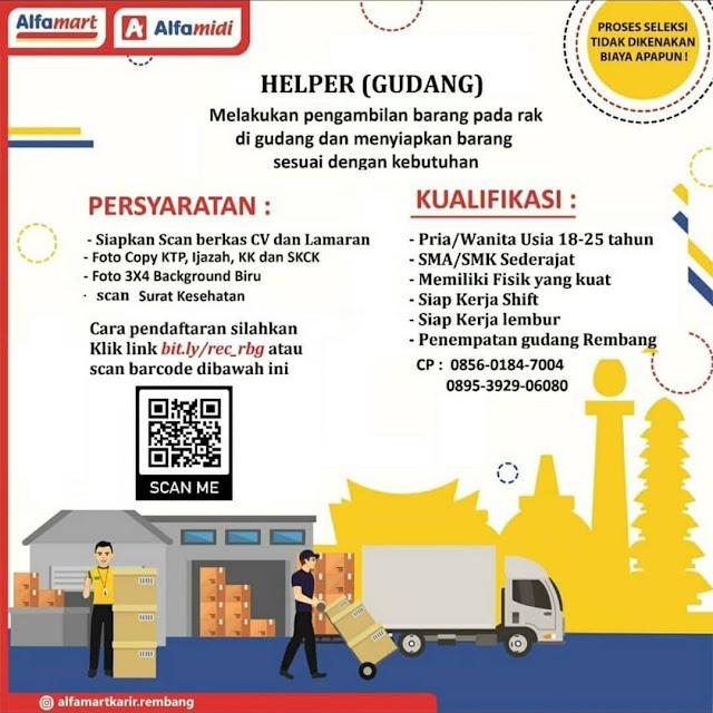 Lowongan Kerja Helper Penempatan Gudang Alfamart Pasar Banggi Rembang