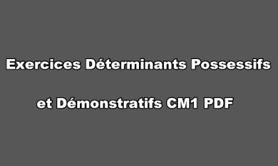 Exercices Déterminants Possessifs et Démonstratifs CM1 PDF