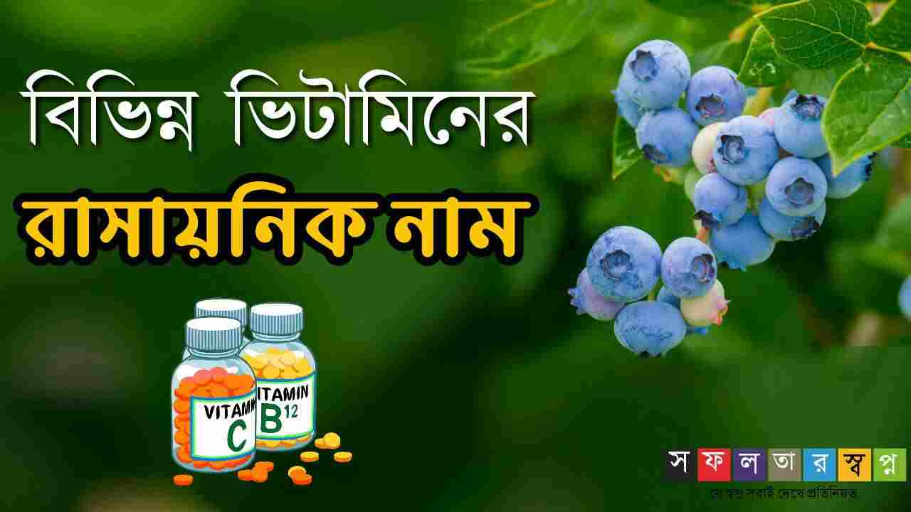 বিভিন্ন ভিটামিনের রাসায়নিক নামের তালিকা || Chemical Name of Various Vitamins in Bengali