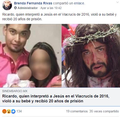 Violó a su bb días después de representar a Jesucristo