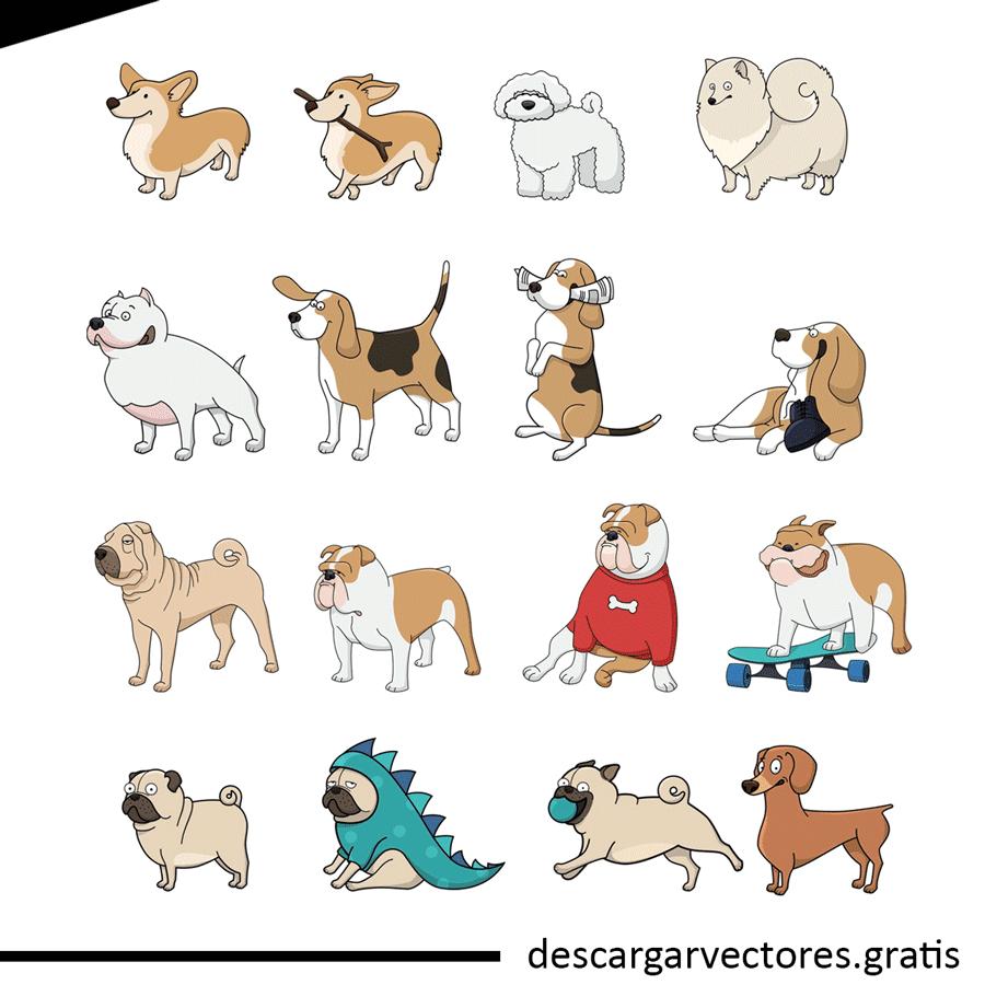 vectores de perros ilustrados