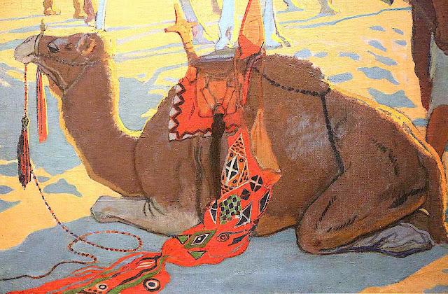 a Léon Carré image of a resting camel