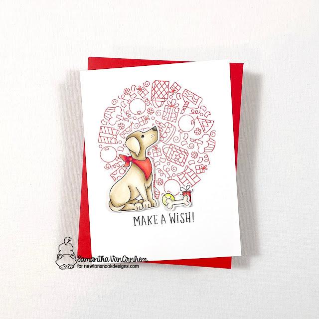 Make a Wish Dog Birthday Card by Samantha VanArnhem | Fetching Friendship Stamp Set and Birthday Roundabout Stamp Set by Newton's Nook Designs #newtonsnook #handmade
