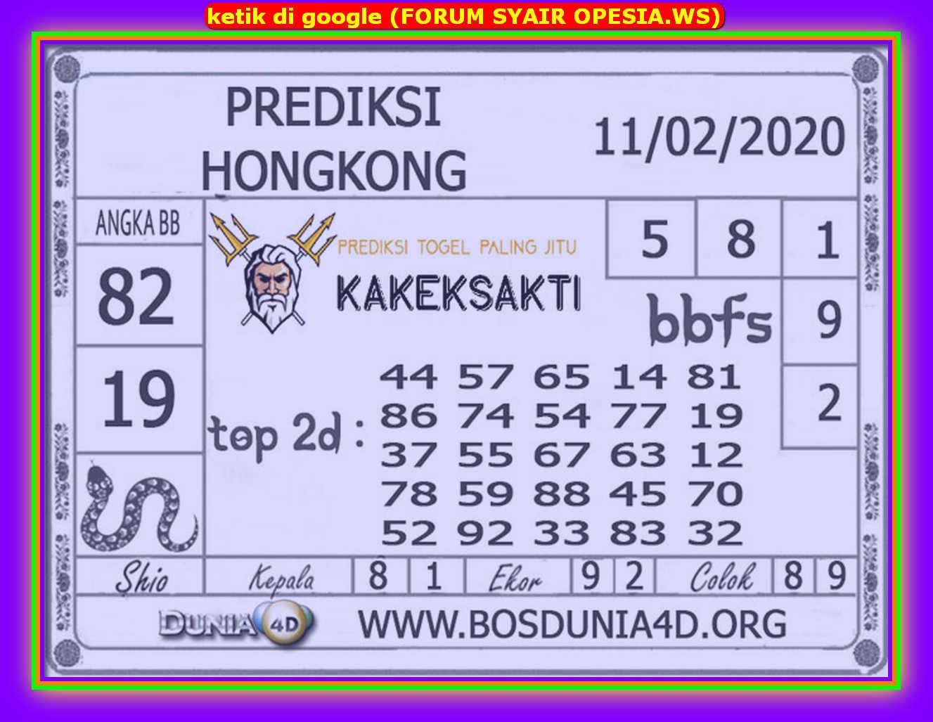 Kode syair Hongkong Selasa 11 Februari 2020 136