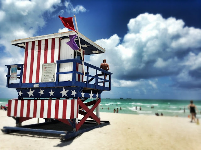 Life Guard Post in US Flag Style at Miami Beach