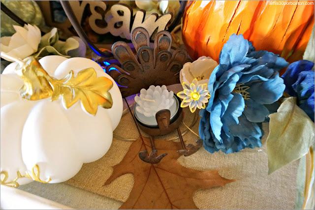 Vela con forma de Flor en mi Centro de Mesa durante Acción de Gracias