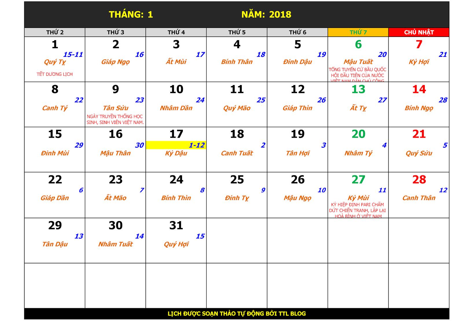 Lịch vạn sự tháng 1 năm 2018