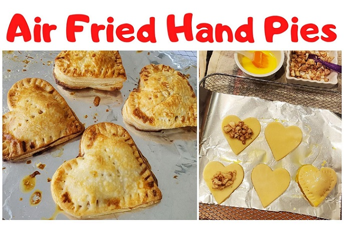 this is air fried apple hand pies and the dough is cut into heart shapes