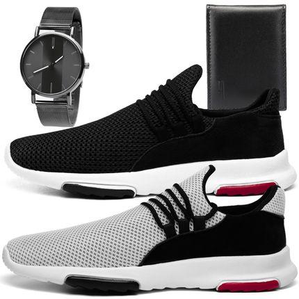 Kit 2 Tênis Sneaker Masculino Preto e Branco + Relógio + Carteira