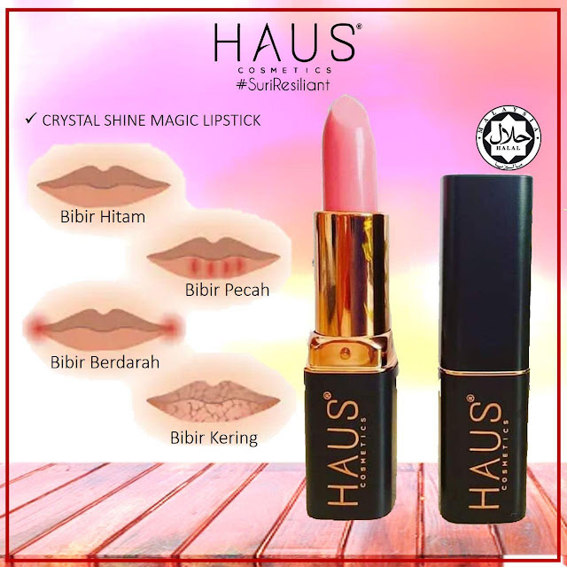 CRYSTAL SHINE MAGIC LIPSTICK dari #HausCosmetics ada penyelesaiannya. #masalah bibir kering? #masalah bibir hitam? #masalah bibir merekah?  Crystal Shine Magic Lipstick by #HAUSCosmetics ini menggunakan bahan yang dinamakan COLOUR CHANGING yang di import dari Korea.  Colour changing ni teksturnya sangat moist dan sangat sensitif pada kelembapan.  Dan ada satu lagi bahan utama yang ada dalam Magic Lipstick HAUS ni adalah  HEXAPEPTIDE 12. Haaa.. tudia, berbelit lidah nak menyebutnya.  Bahan ni pun di import dari Korea. H12 ni adalah active ingriedient untuk selesaikan masalah bibir KERING, bibir PECAH, bibir HITAM.   Haaa.. best kan? Kira 2 in1 lah FAEDAH yang uolls dapat bila guna Magic Lipstick HAUS NI.  1. Dapat selesaikan MASALAH bibir yang bermasalah.  2. Bibir bertukar jadi warna lipstick pink atau merah.   So pada yang nak mudah dan ringkas, dah tak payah pakai lipstick lain dah.So,kesimpulannya MAGIC LIPSTICK is about natural looks😍  Harga: RM 29.00 sahaja tidak termasuk pos.