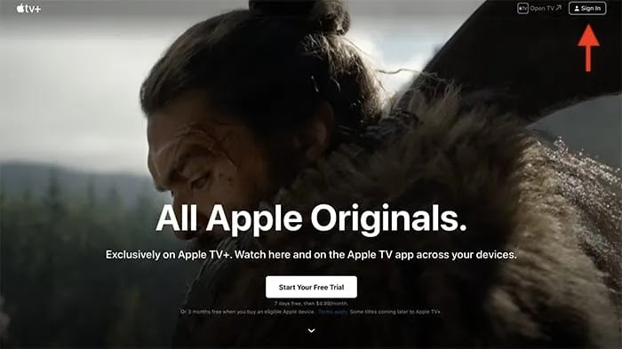 قم بإلغاء واجهة Apple Tv Plus عبر الإنترنت