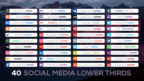 Social Media Lower Thirds 20334014 Free After Effects Template