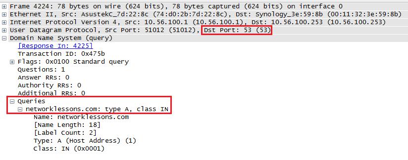 Wireshark DNS Request Capture