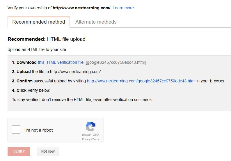 Verify Your Ownership in Google Webmaster