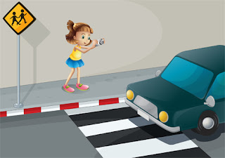 Clipart Image of a Girl Taking a Picture of a Car