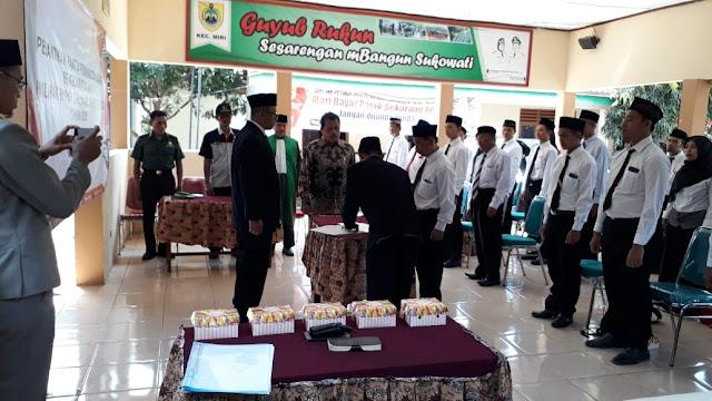 Kodim Sragen-Babinsa Karangtengah Pantau Pelantikan PPS Se Kecamatan Sragen