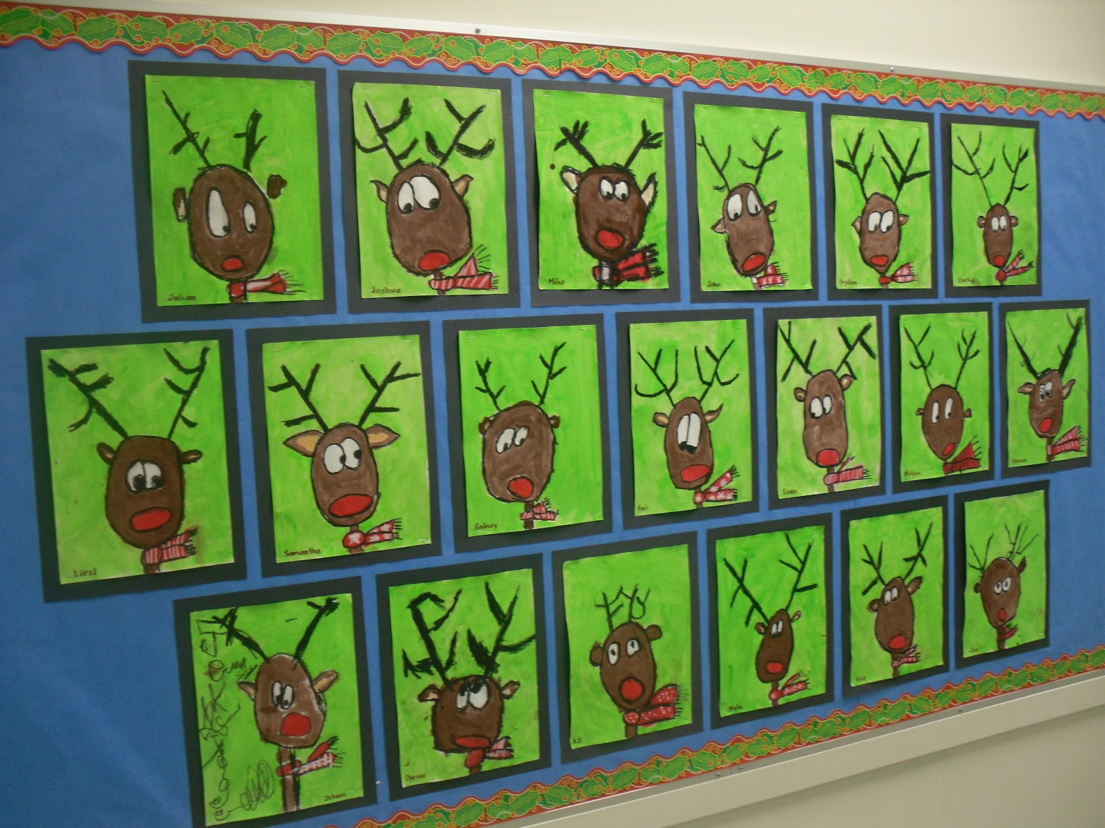 Artventurous reindeer portraits for Elementary christmas craft ideas