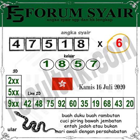 Forum Syair HK Kamis 16 Juli 2020
