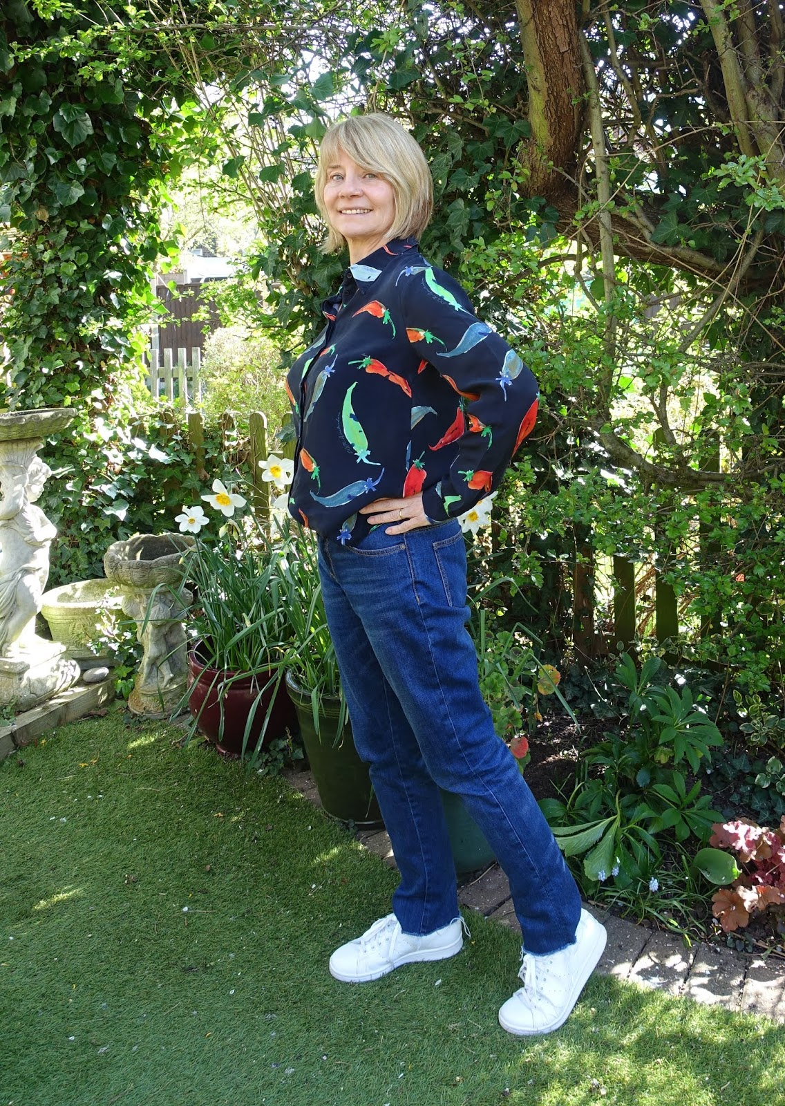 Is This Mutton's Gail Hanlon in casual but smart outfit: blue jeans and patterned shirt from The Bias Cut