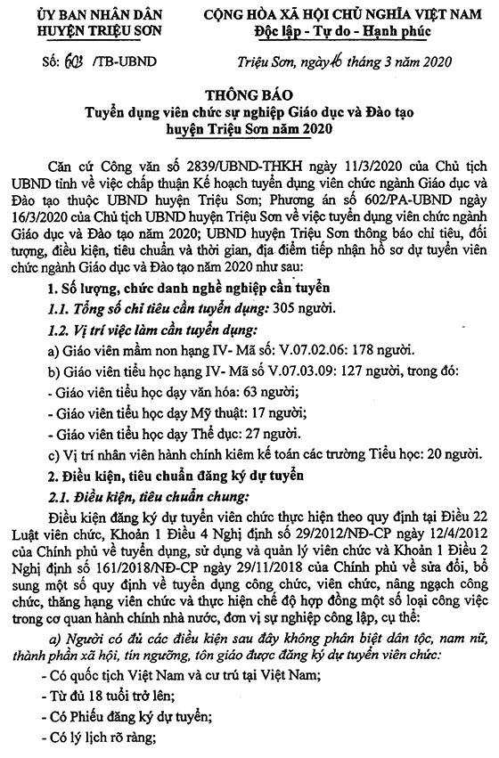 UBND huyện Triệu Sơn Thanh Hóa tuyển dụng 305 chỉ tiêu giáo viên năm 2020
