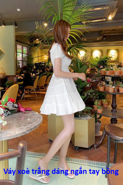 Váy xoè trắng dáng ngắn tay bồng