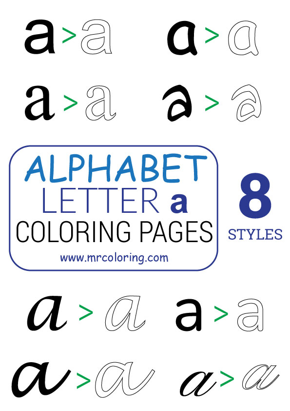 Alphabet letter a coloring pages Lowercase for kids