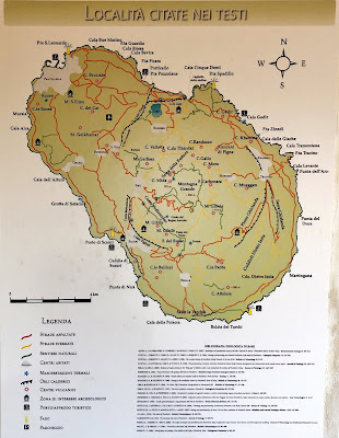 Map of Pantelleria showing different itineraries with some volcanic features.