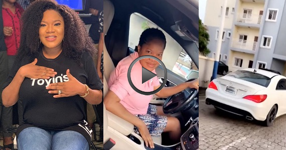 Actress, Toyin Abraham acquires new Mercedes Benz CLA (Video)