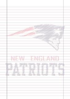 Papel Pautado New England Patriots rabiscado PDF para imprimir na folha A4