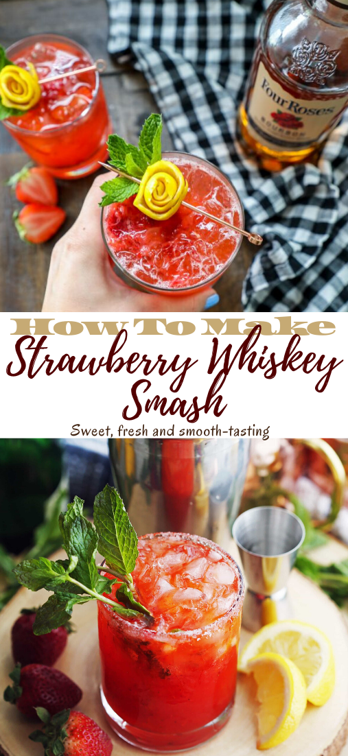 Strawberry Whiskey Smash #healthydrink #drinkrecipe #smoothiehealthy #cocktail