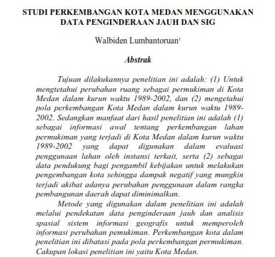 Studi Perkembangan Kota Medan Menggunakan Data Penginderaan Jauh dan SIG [PAPER]