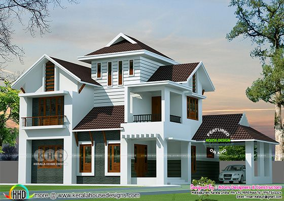 Sloping roof style modern house 2160 square feet