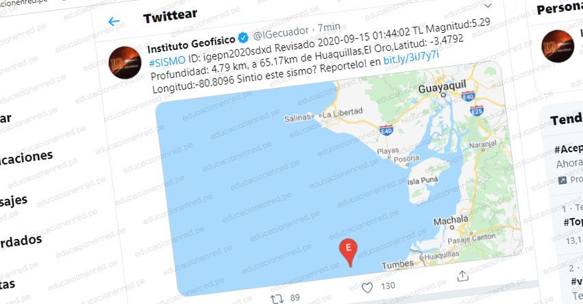 Temblor en Ecuador de Magnitud 5.2 (Hoy Martes 15 Septiembre 2020) Terremoto - Sismo - Epicentro - Huaquillas - El Oro - www.igepn.edu.ec