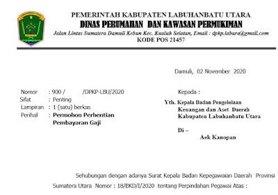 Contoh Format Surat Permohonan dan Keterangan Perhentian Pembayaran Gaji Pegawai Negeri Sipil (PNS) labura