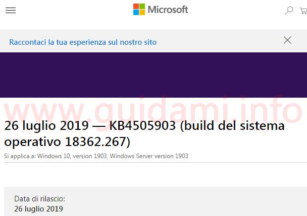 Microsoft support pagina web note di rilascio aggiornamento cumulativo