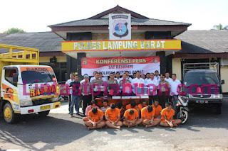 Polres Lampung Barat Menggelar Konferensi Pesr Terkait 5 Perkara Yang   Diungkap Dalam Satu Bulan