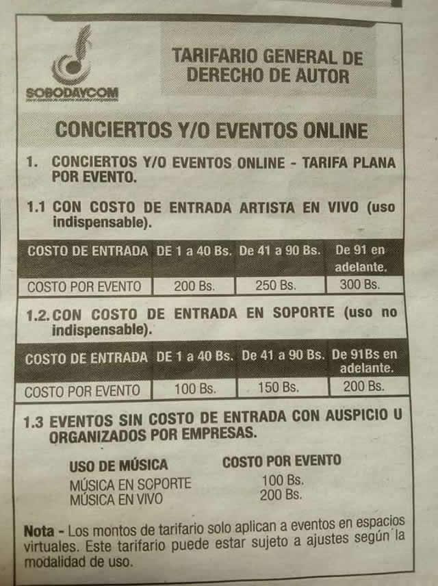 Tarifario Sobodaycom para conciertos online