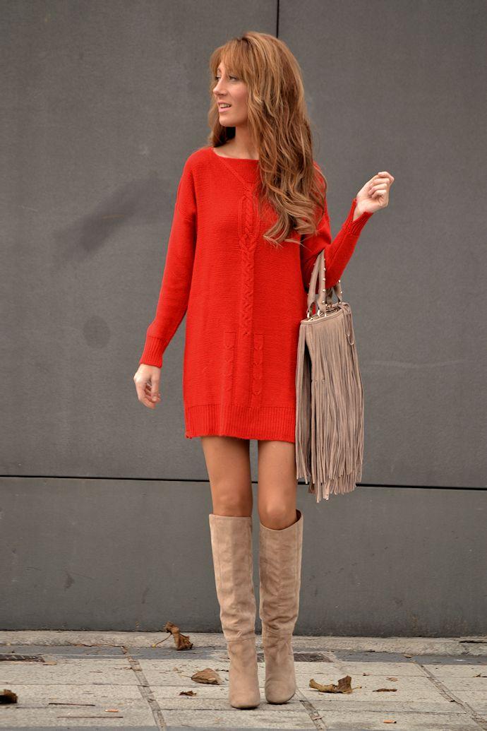 Vestido rojo de punto de Zara ...os gusta   aec7e2003958