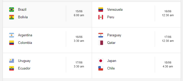 Copa America 2019 Group A Fixture Indian Time