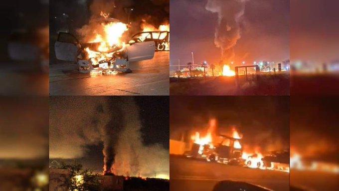 Video: Caborca; Sonora durante la noche fue Zona de Guerra, convoy de Sicarios, quema de casas, autos y gasolinera, enfrentamientos, asi se vivio