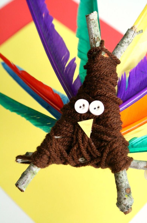 Yarn turkey Thanksgiving craft for kids