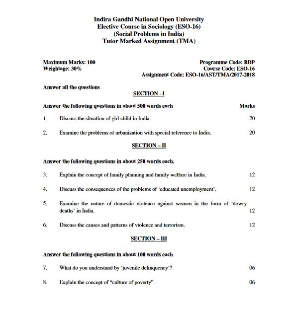 ESO-16 Social Problems in India Solved Assignment 2017-18