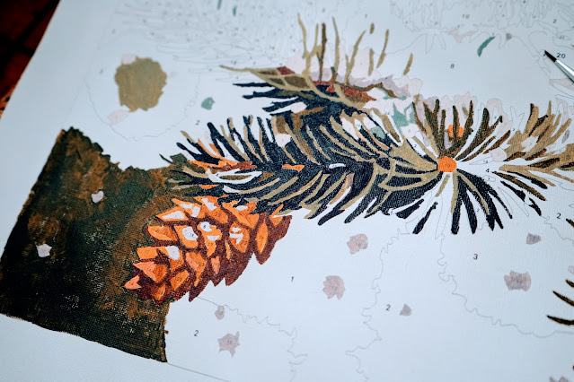 Painting of pine cone and greenery