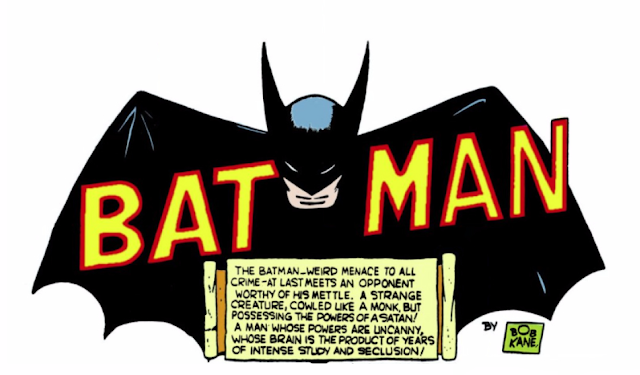 "Detective Comics (1937) #31 Page 1 Title Panel: ""The Batman...weird menace to all crime -- at last meets an opponent worthy of his mettle. A strange creature, cowled like a monk, but possessing the powers of Satan!..."""