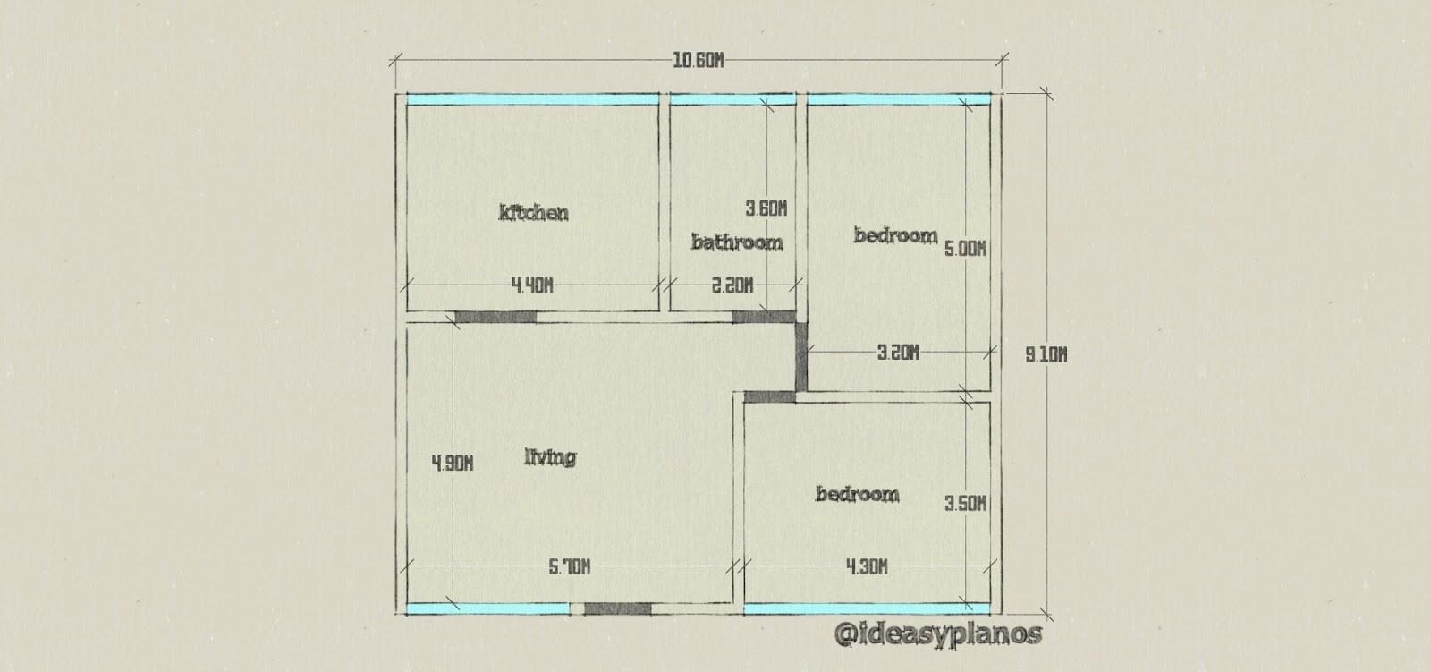 Plano con medidas de casa de un piso con dos habitaciones for Planos de casas de dos pisos con medidas
